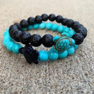 Jewelry - Couples Turquoise and Black Sea Turtle Bracelet.